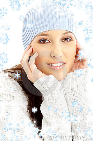 Free Lovely Brunette In Winter Hat With Snowflakes Stock Photography - 3618012