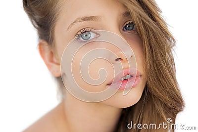 Lovely brunette model posing looking at camera