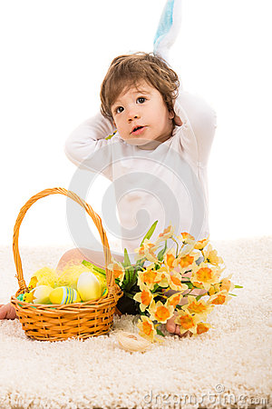 Lovely bunny boy with Easter basket
