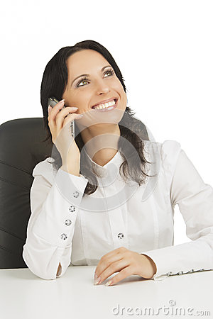 Lovely businesswoman wearing white talking