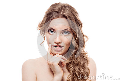 Lovely confused woman on white background