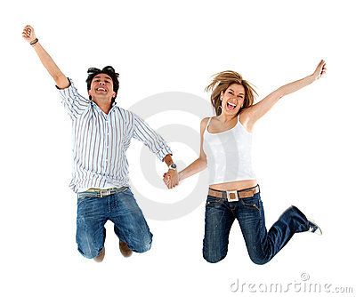 Lovely couple jumping