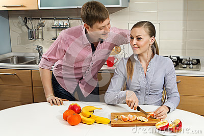 Lovely couple on kitchen