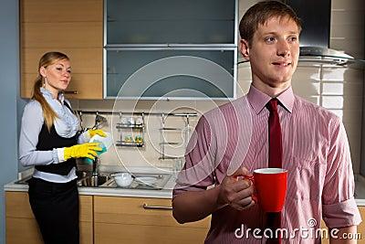 Lovely couple on kitchen