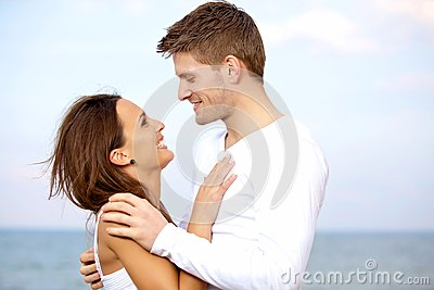 Lovely Couple Looking at Each Other with Affection