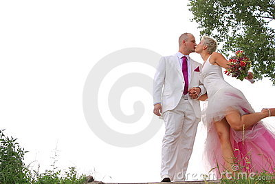 Lovely couple wedding kiss