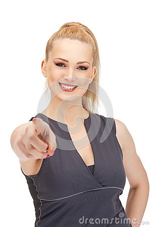 Lovely fitness instructor pointing her finger Stock Photo