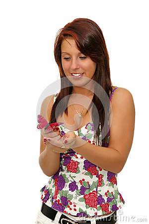 Lovely Girl With Butterfly Stock Photography - Image: 28880662