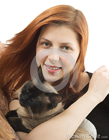 Lovely girl with  cat