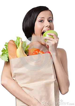 Free Lovely Girl Eats An Apple Royalty Free Stock Images - 26182009