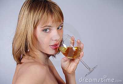 Lovely girl holding a glass of wine