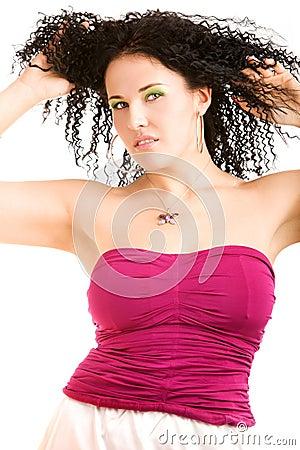 Lovely girl in magenta top