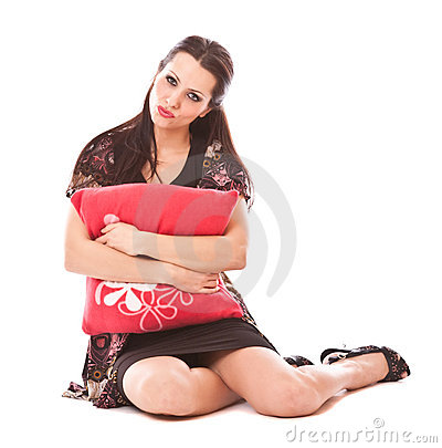 Lovely girl with pillow