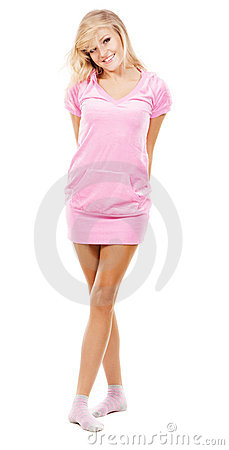 Lovely girl in a pink comfort clothing