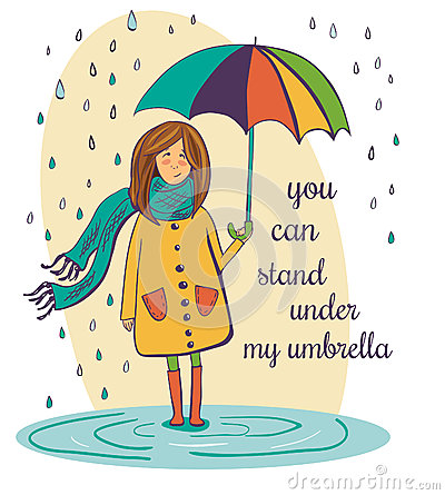 Free Lovely Girl With Umbrella Under The Rain Stock Photo - 58935380