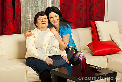 Lovely grandma and granddaughter home