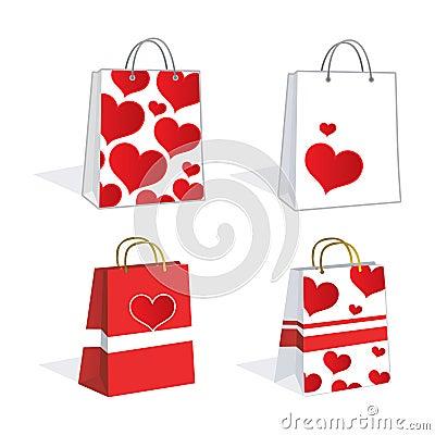 Lovely heart shopping bags