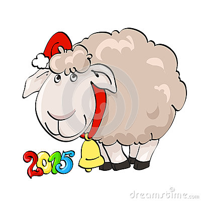 Lovely lamb in Santa s cap with bell