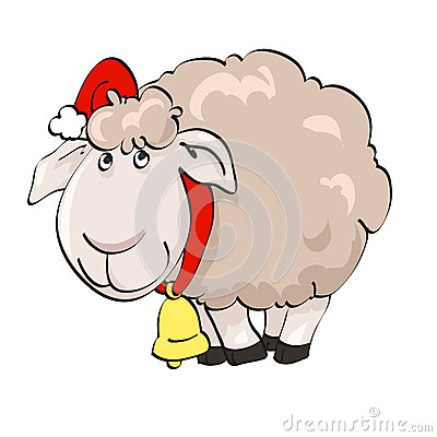 Lovely lamb in Santa s cap with lantern