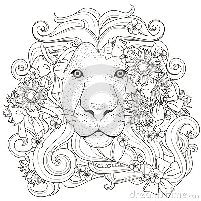 Lovely Lion Coloring Page Stock Illustration Image 61348998
