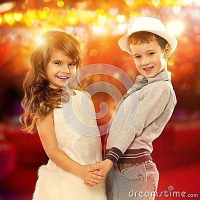 Lovely Little Boy And Girl Holding Hands. Kids Love Stock ...