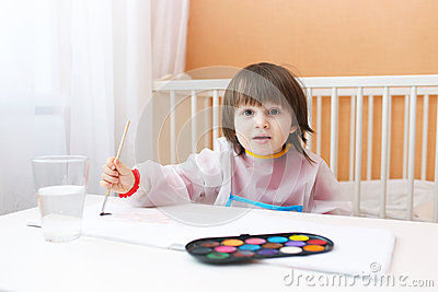 Lovely Little Boy Painting With Water Color Paints At Home Lovely Colors Boy Images