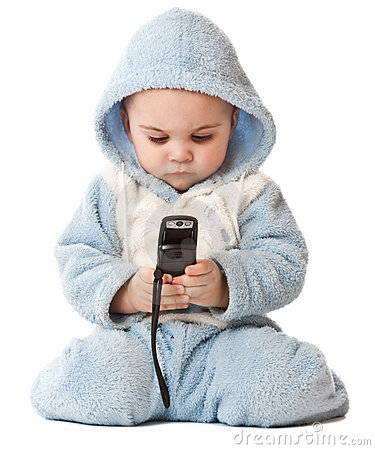 Lovely little boy with phone