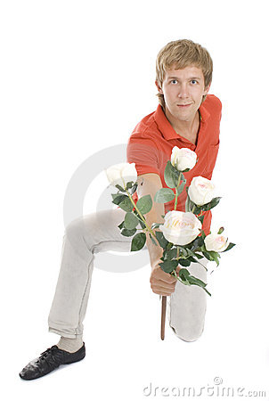 Lovely man with roses isolated