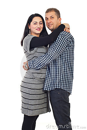 Lovely mid adult couple embrace