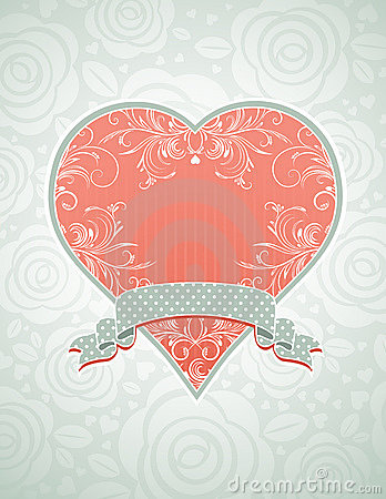 Lovely pink heart with grey ribbon