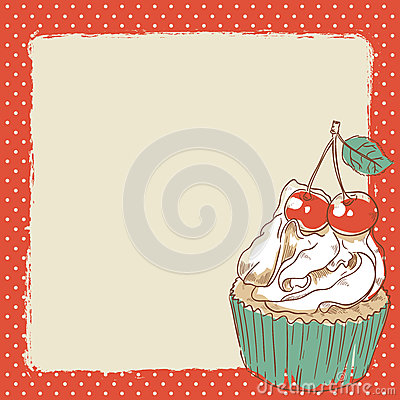 Lovely postcard with delicious sweet cupcake