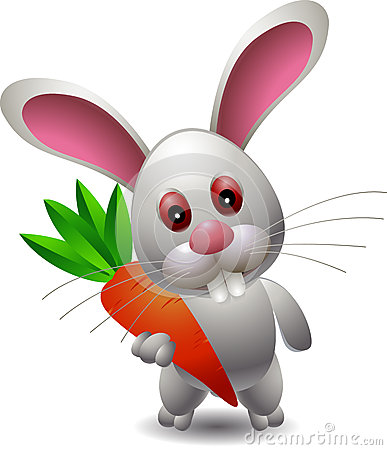 Lovely rabbit holds carrot