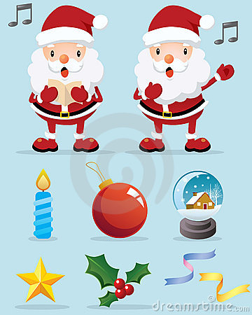 Lovely Santa Claus and Christmas Decoration Icon