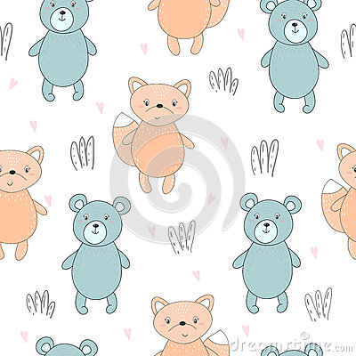 Lovely seamless pattern with cute foxes and bear. Awesome background in bright colors in vector Vector Illustration