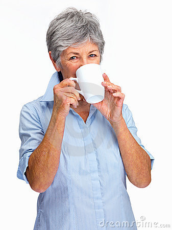 Lovely senior woman drinking coffee