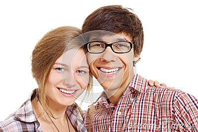 Lovely smiling teenage couple
