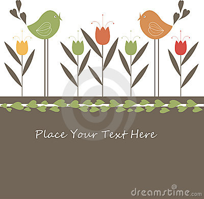 Lovely Spring Design with Flowers and birds.
