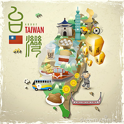 Free Lovely Taiwan Landmarks And Snacks Map In Flat Style Royalty Free Stock Images - 59577389