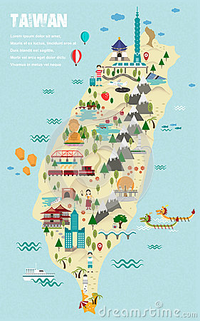 Free Lovely Taiwan Travel Map Royalty Free Stock Photo - 59577415