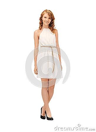 Lovely teenage girl in elegant dress Stock Photo