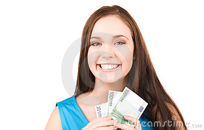 Lovely teenage girl with money