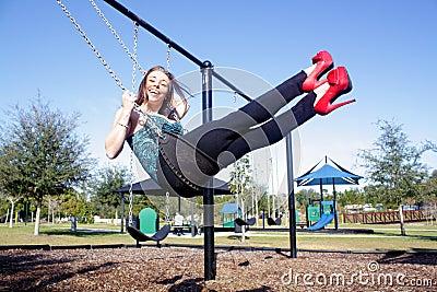 Lovely, Voluptuous Brunette on a Swing (7)