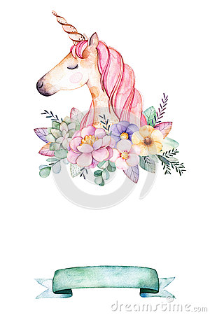 Lovely watercolor card with text for example with peony,flower,leaves,succulent plant,branches,cute unicorn and ribbon. Cartoon Illustration