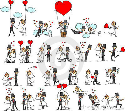 Free Lovely Wedding The Bride And Groom,vector Stock Image - 21890161