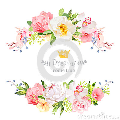 Lovely wishes floral vector design frame. Wild rose, peony, orchid, hydrangea, pink and yellow flowers. Vector Illustration