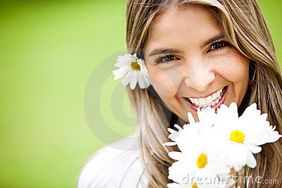 Lovely woman with flowers