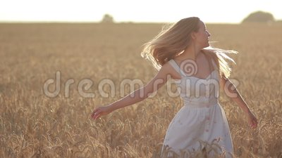Lovely woman with flying hair in field at sunset stock video footage