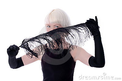 Lovely woman hiding face of black feather
