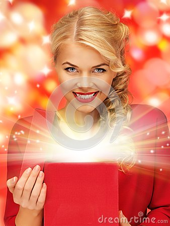Free Lovely Woman In Red Dress With Opened Gift Box Stock Image - 39378051