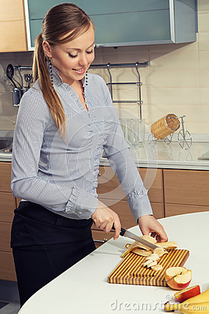 Lovely woman on kitchen
